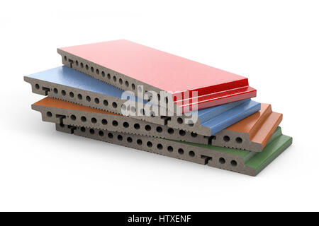 3d rendering of terracotta glazed panels for ventilated facade cladding isolated on white background - Stock Photo