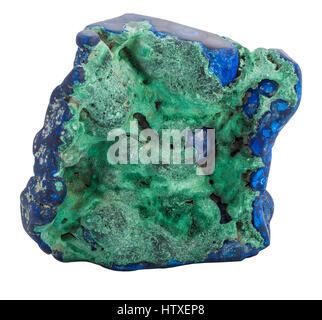 Blue Azurite gemstone isolated on white background - Stock Photo