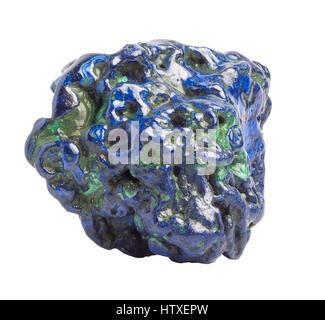 Blue Polished Azurite gemstone isolated on white background - Stock Photo