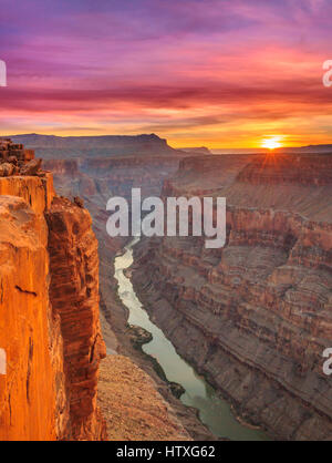 sunrise over the colorado river at toroweap overlook in grand canyon national park, arizona - Stock Photo
