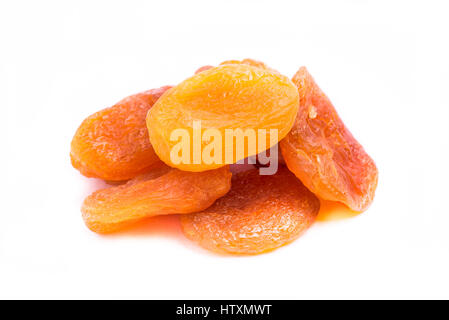 dried apricots fruit isolated on white background - Stock Photo