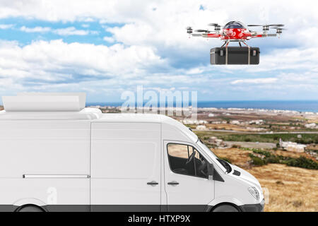 drone and delivery van 3d rendering image - Stock Photo