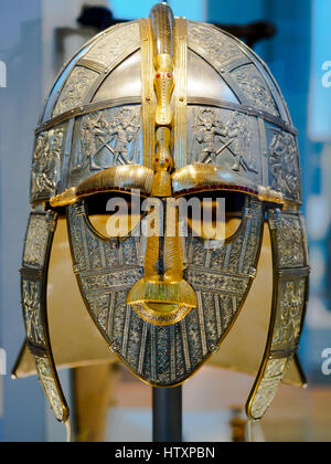 Replica of the Anglo Saxon  Sutton Hoo Helmet - Stock Photo