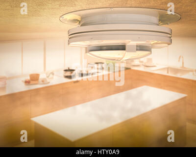 ... 3d Rendering Smoke Detector On Ceiling With Smoke In Kitchen   Stock  Photo