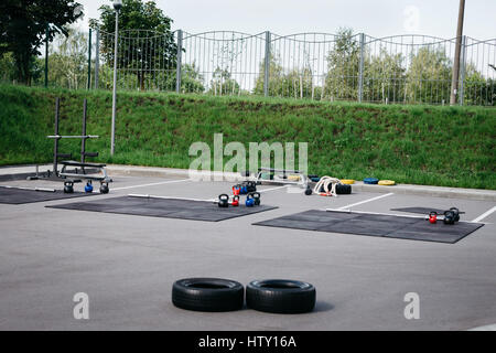 Area for outdoor street workout with all the necessary equipment - Stock Photo