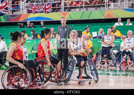 Wheelchair Basketball competition during Rio 2016 summer paralympic games - Stock Photo
