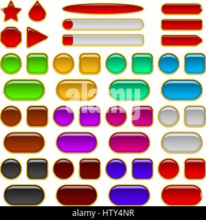 Glass buttons of various colors, set - Stock Photo