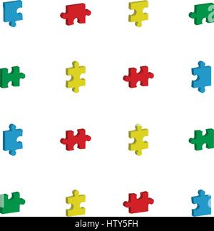 Vector icon set for jigsaw puzzle against white background - Stock Photo