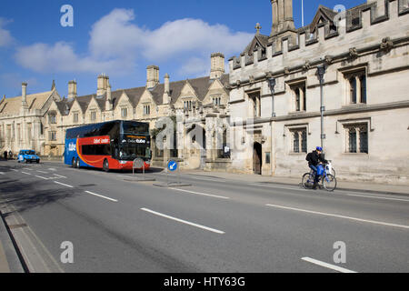 Oxford tube taxi and bicycle showing transport around Oxford - Stock Photo