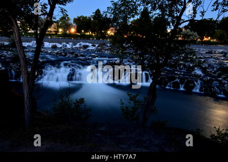Those are shots of the Idaho falls view in Idaho falls, Idaho. These shots were taking a calm summer night in 2015. - Stock Photo