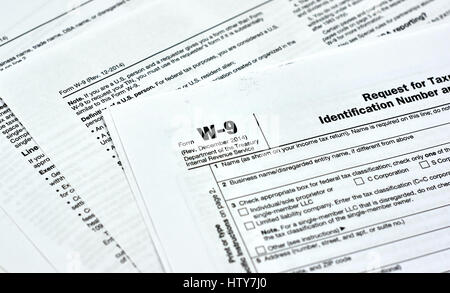 W-9 Usa Federal Tax Form Stock Photo, Royalty Free Image