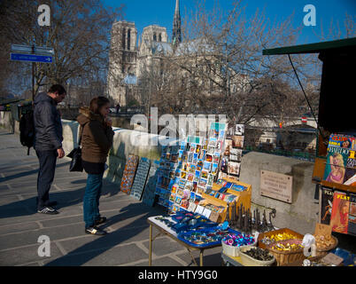 Notre Dame Cathedral and gift shop. Paris, France, Europe Stock ...