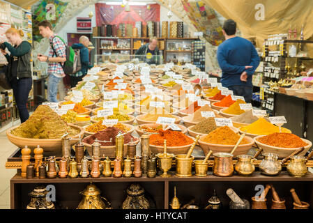Spices at a market in Israel - Stock Photo