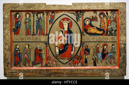 Iohannes. Ribagorza workshop. Altar frontal from Cardet, 2nd half of 13th century. From the parish church of Santa - Stock Photo
