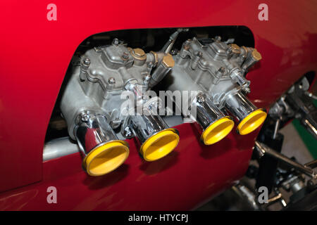 Close-up of the twin Weber Carburetor's on a 1959  Cooper-Maserati 2-Litre Mk IV, Type  51 - Stock Photo
