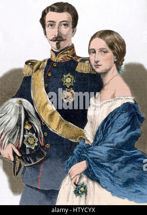 Frederick I (1826-1907). Grand Duke of Baden with his wife Princess Louise of Prussia (1838-1923). Engraving. The - Stock Photo