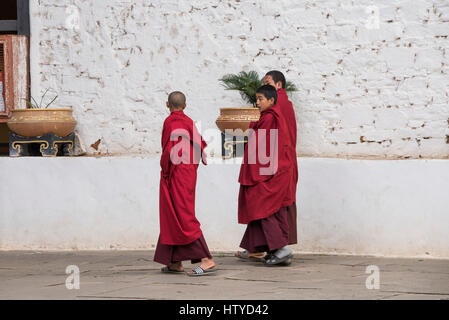 Bhutan, Paro, Rinpung Dzong. Novice monks at 15th century Buddhist monastery and fortress. Tentative List for UNESCO - Stock Photo