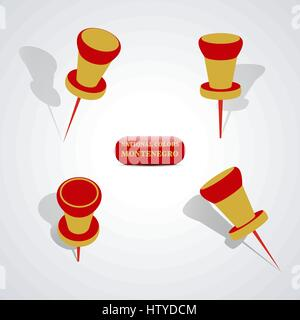 Set of pushpin in the national colors of Montenegro, vector illustration. - Stock Photo