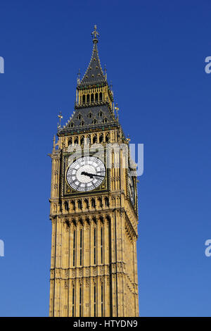 The famous Big Ben clock tower at Westminster Palace in London, England. The tower is now officially called the - Stock Photo