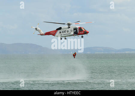 Anglesey Wales UK - August 15 2015: British HM Coastguard helicopter Sikorsky S-92 operated by Bristow Helicopters - Stock Photo