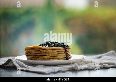Stack of blueberry pancakes - Stock Photo