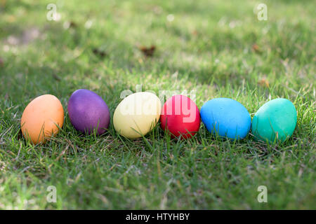 Six colorful easter eggs in a row - Stock Photo