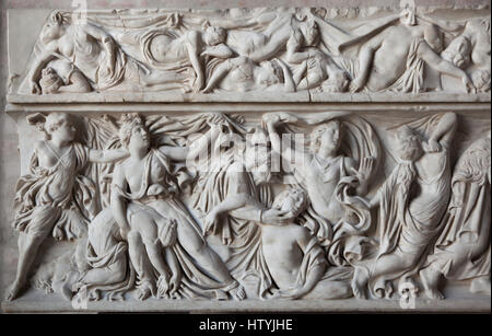 Massacre of the Niobids. Apollo and Artemis killing the fourteen children of Niobe. Roman sarcophagus from about - Stock Photo