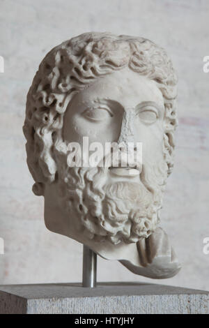 Head of a statue of Zeus or Hades. Roman marble copy after a Greek original by Agoracritus from about 440 BC on - Stock Photo