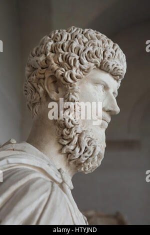 Roman Emperor Lucius Verus (reign 161-169 AD), adoptive brother of Marcus Aurelius and his coregent. Marble bust - Stock Photo