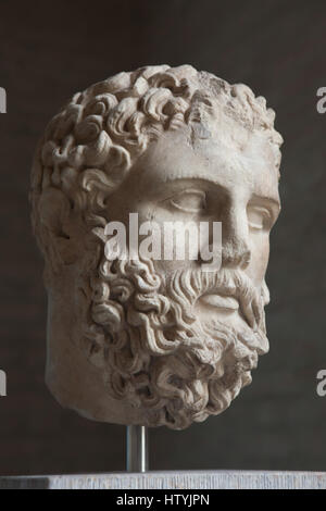 Head of Heracles. Roman copy after a Greek original from about 360 BC on display in the Glyptothek Museum in Munich, - Stock Photo