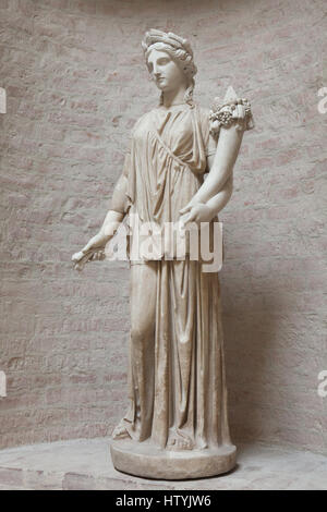 Statue of Artemis. Roman copy after a Greek original from the 4th century BC known as the Dresden Artemis on display - Stock Photo