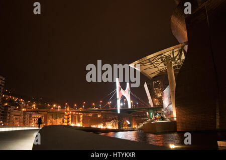 Bilbao: night view of the Guggenheim Museum Bilbao, the museum of modern and contemporary art designed by architect - Stock Photo