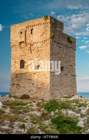 Coastal watchtower in Marina Serra, Tricase, Lecce, puglia, Italy. - Stock Photo