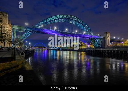 Tyne Bridge Newcastle upon Tyne Tyneside, Tyne and Wear North East England. View from Newcastle Quayside across - Stock Photo