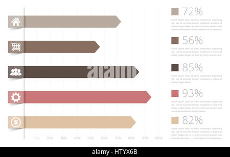 Horizontal Bar Graph Template With Icons Stock Photo, Royalty Free