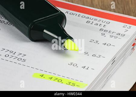 accounts current showing big minus - Stock Photo