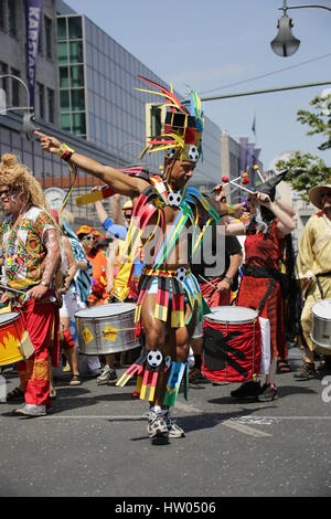 Berlin, Germany, June 8th, 2014: Dancer groups celebrate the Carnival oOf Cultures. - Stock Photo