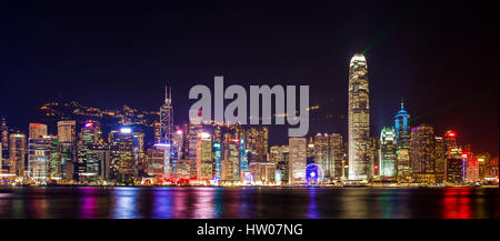 Symphony light and sound city of life at Victoria Harbor in HONG KONG - Stock Photo