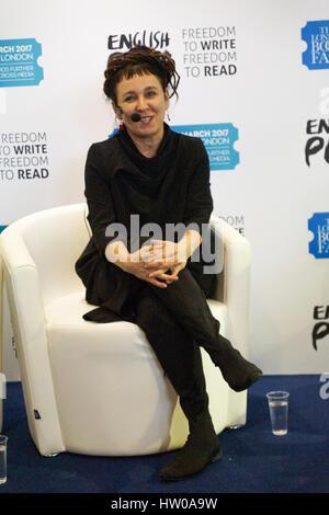 London, UK. 15th Mar, 2017. Second day of the London Book Fair at Olympia saw renowned Polish novelist Olga Tokarczuk - Stock Photo