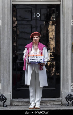London, UK. 15th Mar, 2017. Bianca Jagger joins Human Rights campaigner Peter Tatchell to hand in a 159,000-signature - Stock Photo