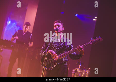 London, UK. March 15, 2017 - Oliver Sim, of the British band The XX, performs at the Brixton O2 Academy on the final - Stock Photo