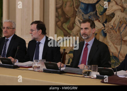 Madrid, Spain. 16th March 2017. Spanish Kings Felipe VI during an ordinary session of the patronage of the Carolina - Stock Photo