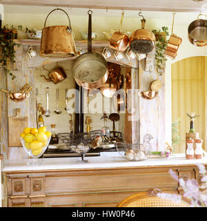 Wooden bench in rustic style kitchen. - Stock Photo