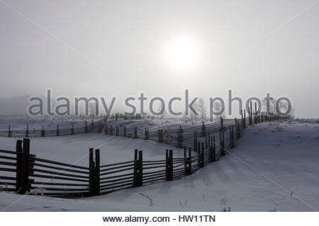 Wooden fences separate snow covered pastureland. - Stock Photo