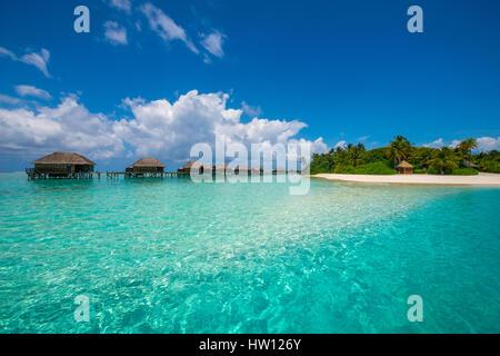 Maldives, Rangali Island. Conrad Hilton Resort. The water villas over the ocean. - Stock Photo