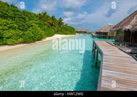 Maldives, Rangali Island. Conrad Hilton Resort. Villas over the water. - Stock Photo