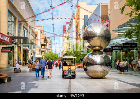 Adelaide, Australia - November 11, 2016: Rundle Mall and famous balls looking towards west in Adelaide CBD on a - Stock Photo