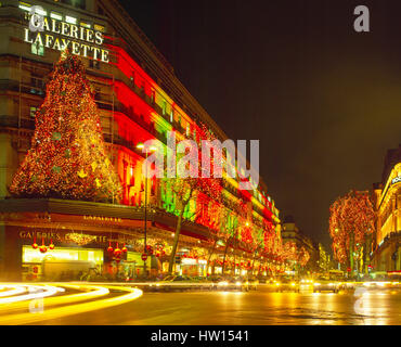 Galeris Lafayette and Boulevard Haussmann decorated for Christmas, Paris, France Stock Photo
