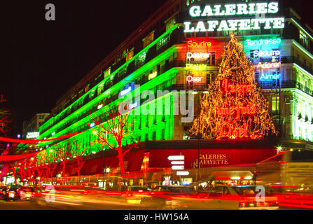 Galeries Lafayette and Boulevard Haussmann decorated for Christmas, Paris, France Stock Photo