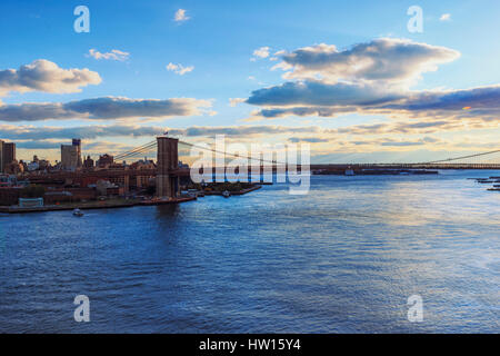 USA, New York, New York City, Lower Manhattan and Brooklyn Bridge - Stock Photo